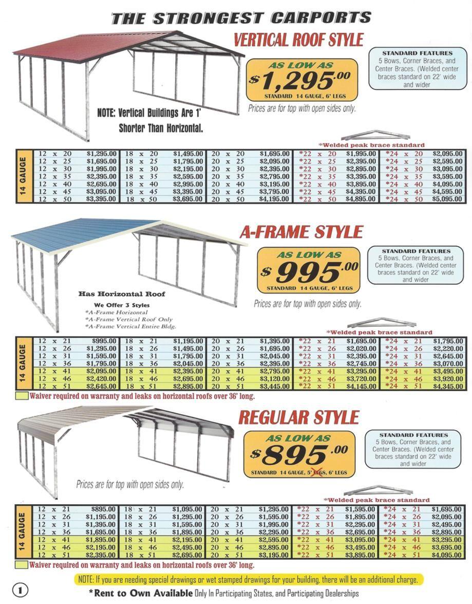 Lafayette Portable Buildings Carport And Rv Cover Price List Casas De Metal Estructura De Techo Ingenieria Civil Construccion