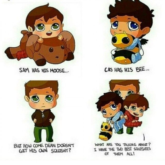 "awwwww Dean you cute thing <3 ""My Team Free Will"" Dean Sam and Cas ^_^ 