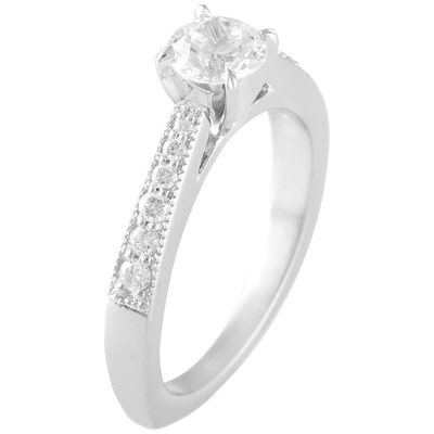 Diamond Solitaire Engagment Ring with tappered in milgraine shank.  0.20ct (not incl. center stone)  Style #5430    Head Shape:Any Shape  Center Size:Any Size  Metal:Any Metal  Wedding band:2.5 x 1.7 mm  Ring Width mm:2.2mm to 3 mm  Suggested Center:5 mm up  round, princess, pear, cushion, oval, heart, marquise