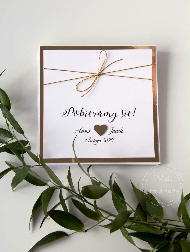 Zaproszenia Slubne Z Lustrzanym Zlotem Wedding Time Wedding Invitations Wedding Details