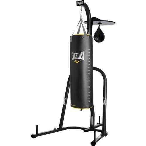 Everlast Dual Station Punching Bag Stand W 100 Lb Powercore Heavy Bag And Everhide Speed Bag Punching Bag Stand Boxing Bags Heavy Bag Stand