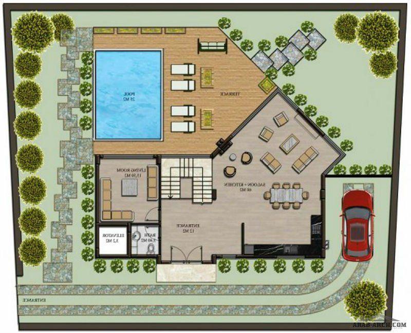 فيلا فخمة سوبر ديلوكس 5 غرف نوم 5 حمامات صالون و مطبخ مساحة الأرض 500 مترمربع Square House Plans Cabin Floor Plans Villa Plan
