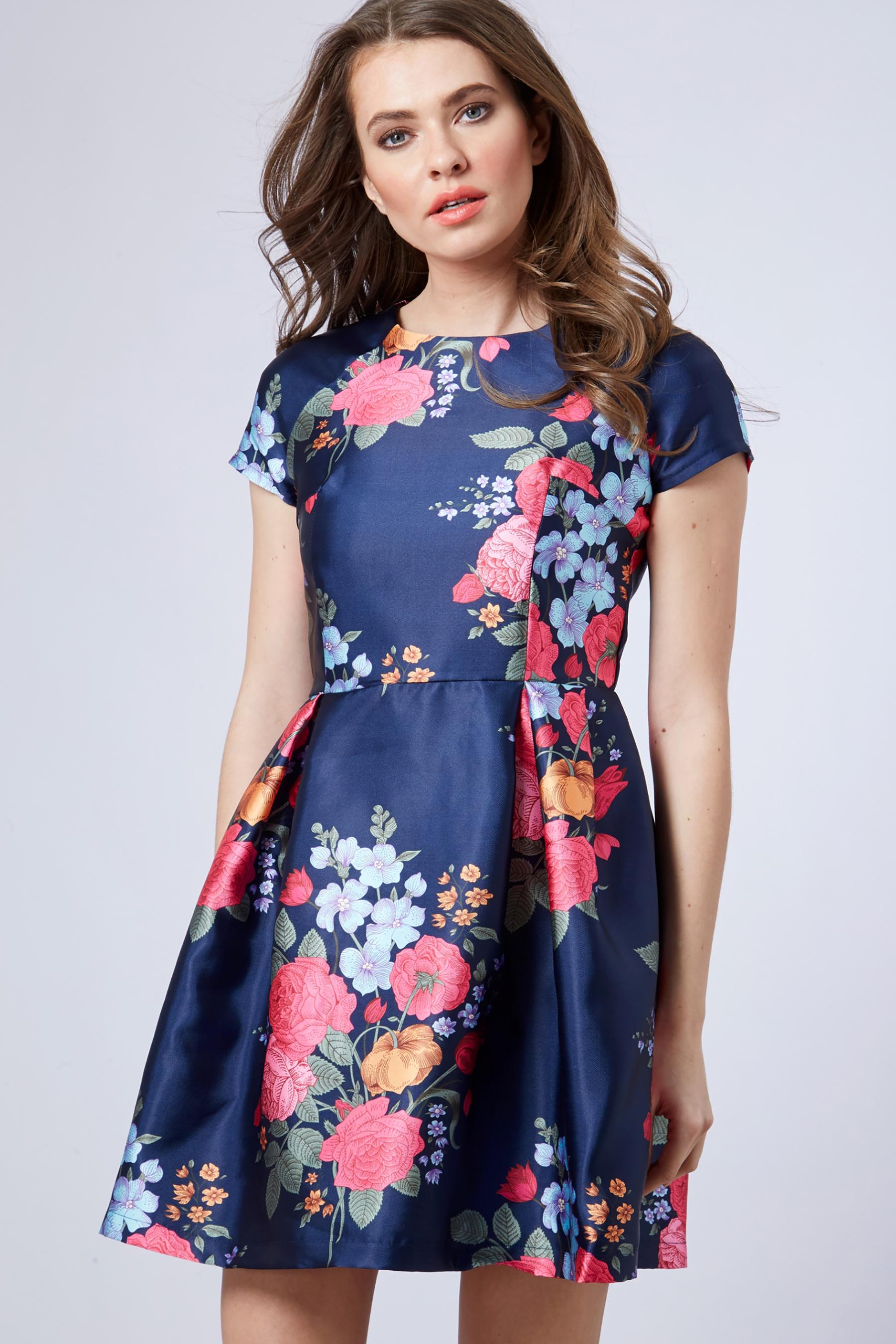 2711e2b4a8d1 Womens Blue Vanilla Floral Print Prom Dress - Blue   Products   Prom ...