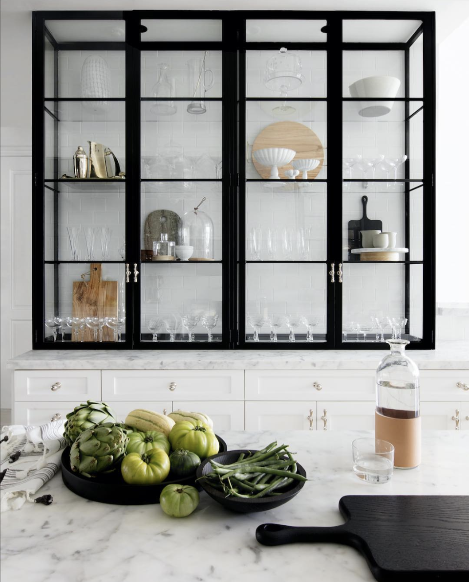 Trending The New Open Shelving The Identite Collective Marble Countertops Kitchen Glass Kitchen Cabinets Glass Kitchen Cabinet Doors