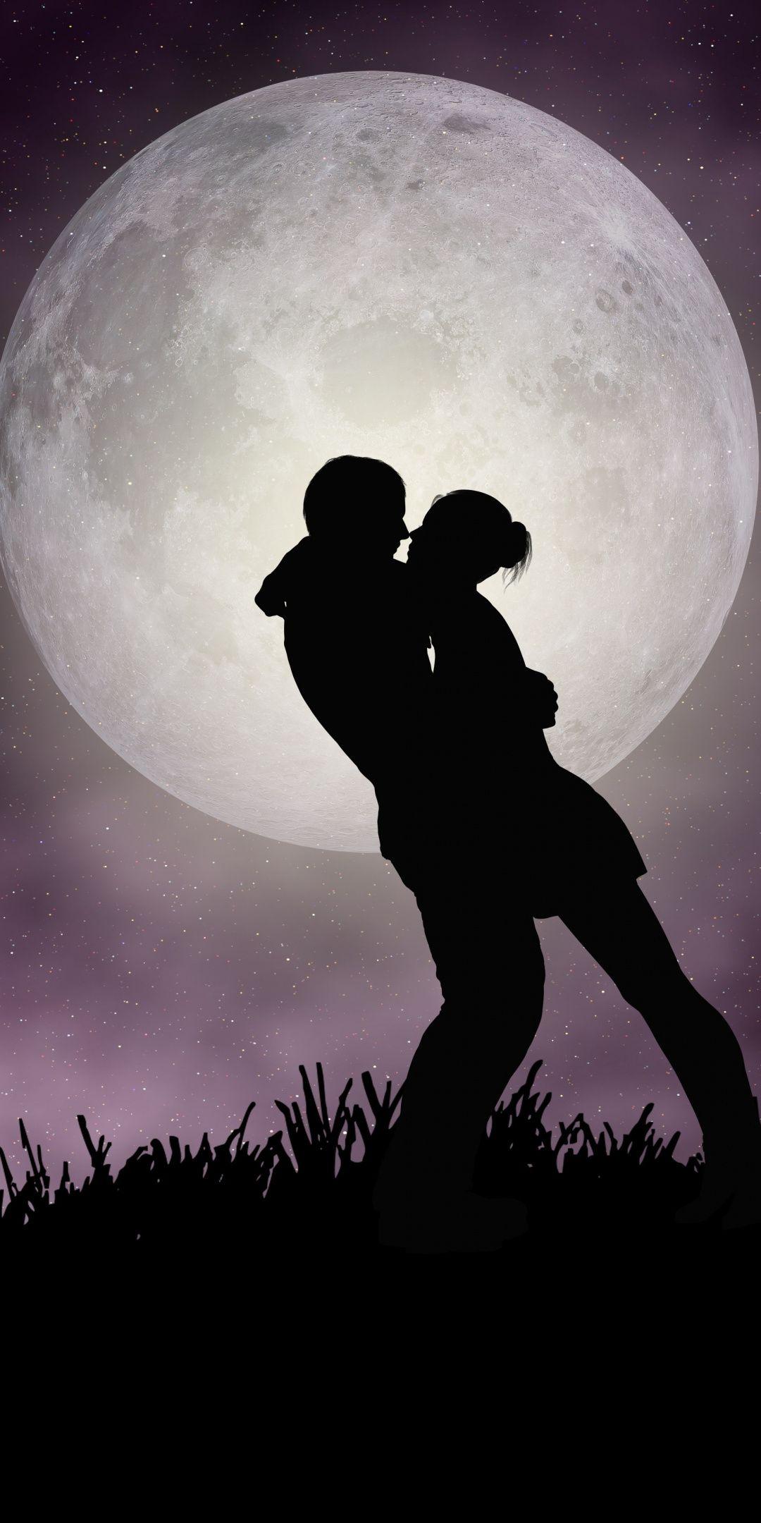 Moon Romantic Night Couple Silhouette Art 1080x2160 Wallpaper Romantic Wallpaper Silhouette Art Art Wallpaper
