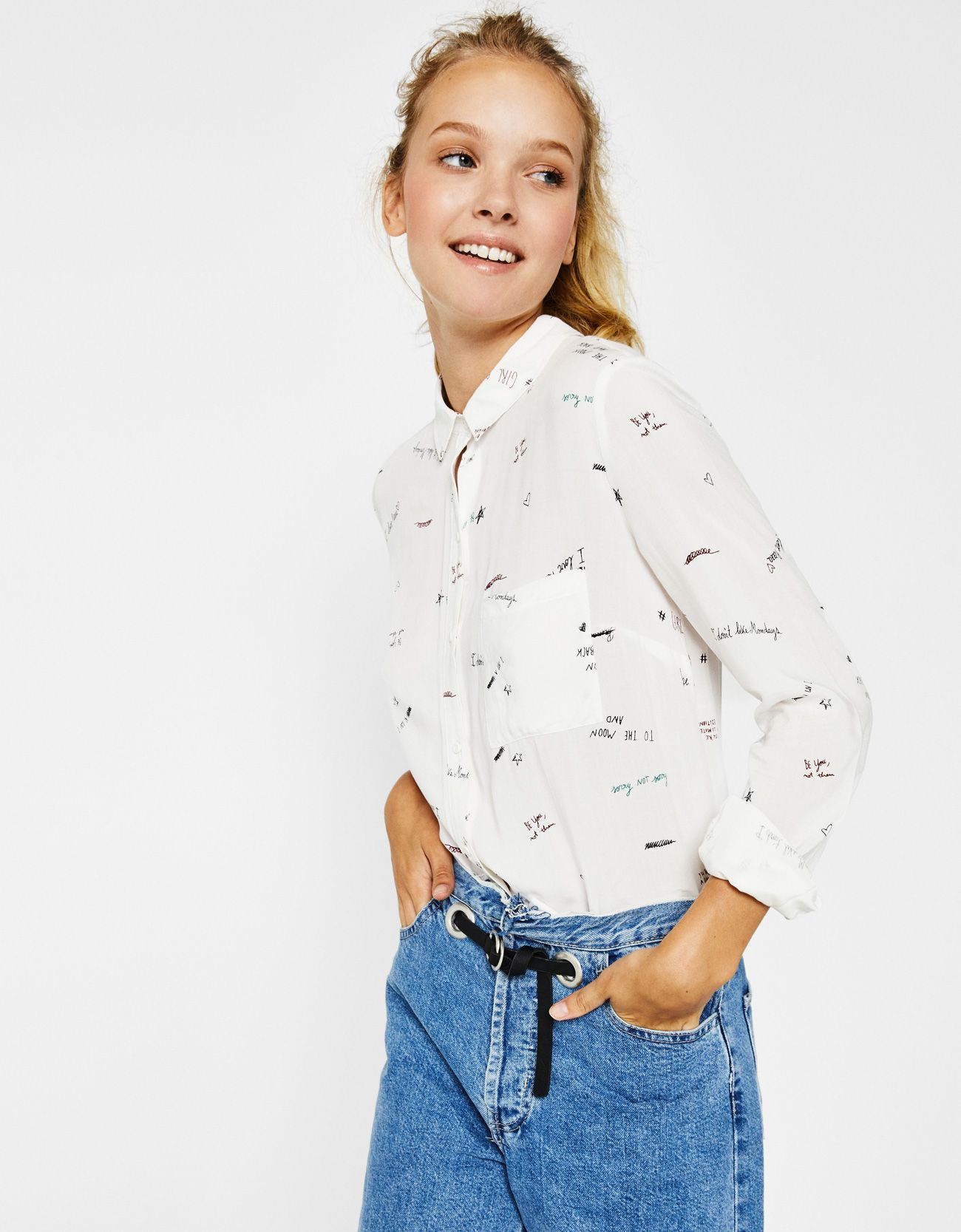 b2a00b581482f0 Cropped shirt with button-up back. Discover this and many more items in  Bershka with new products every week