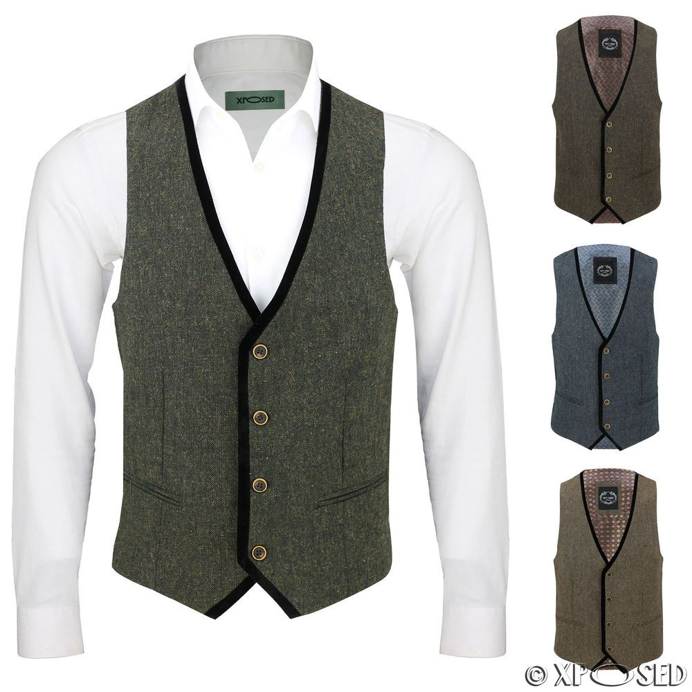 0ad5178438a Details about Mens Vintage Tweed Brown Blue Green Waistcoat Black ...