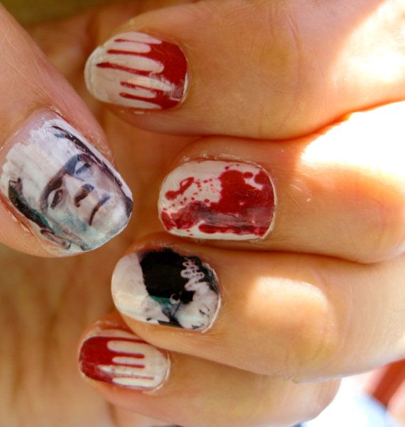 for your upcoming Halloween parties! Frankenstein nail decals mixed and matched with bloody nails! Monsterfabulous!