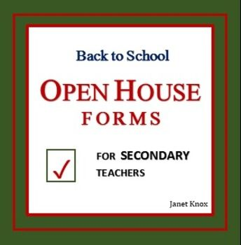 Back To School Open House Forms For Secondary Teachers  Parent