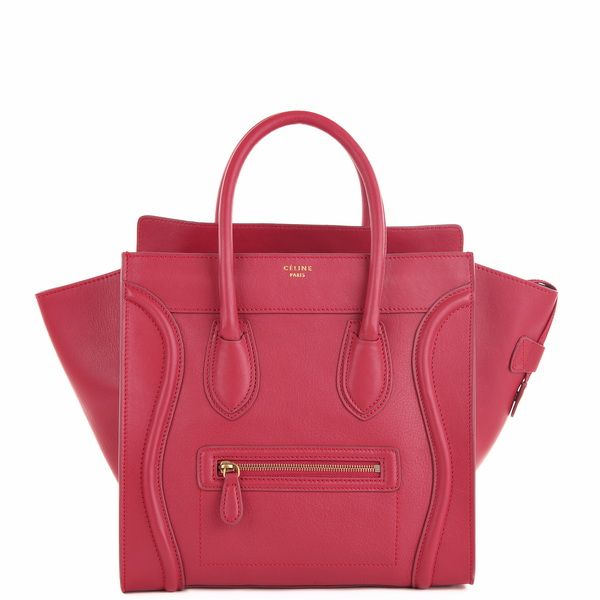 Celine Luggage Tote (30CM) in watermelon red smooth calf leather.