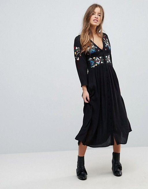 Embroidered Maxi Dress - Black Asos Petite Buy Cheap Fashion Style Cheap Sale Real Outlet Store Locations Free Shipping fEyu78kb