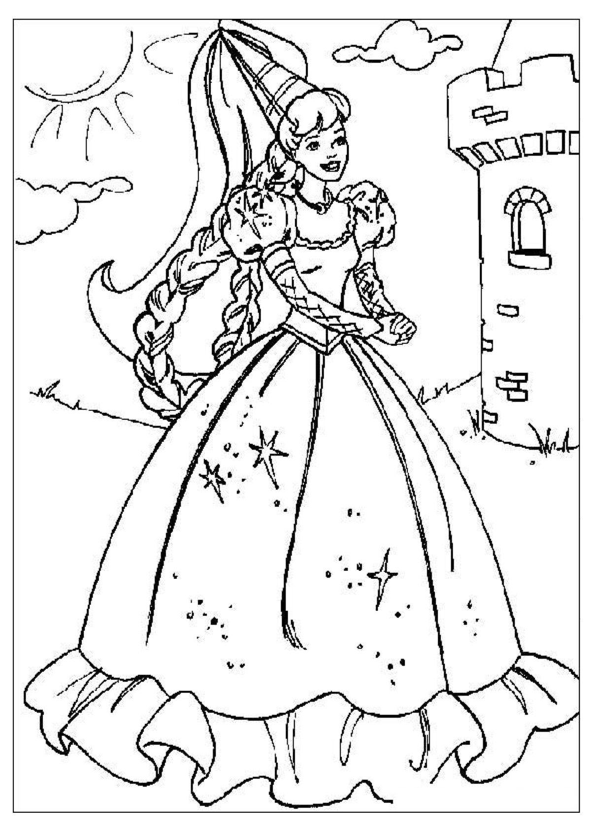 Gratis Kleurplaten Prinsessen.Kleurplaat Jonkvrouw Prinses Kleurplaatjes Kerstmis