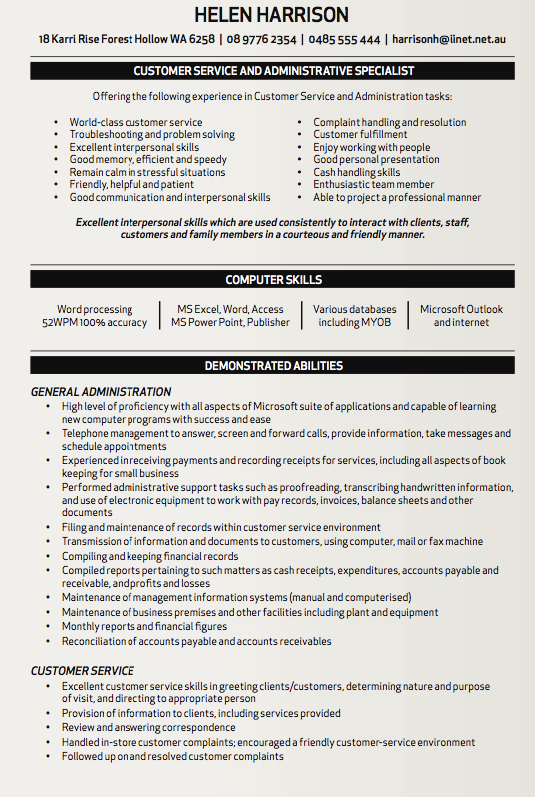 Interpersonal Skills Resume Customer Service And Administrative Specialist Resume Sample  Http .