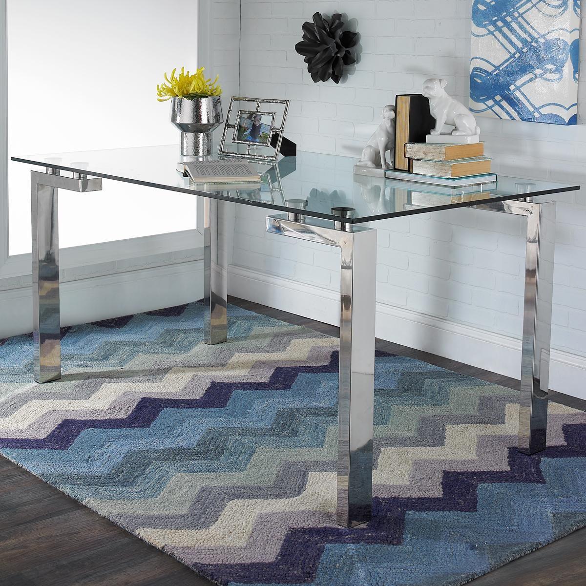 Steel Leg Glass Top Table
