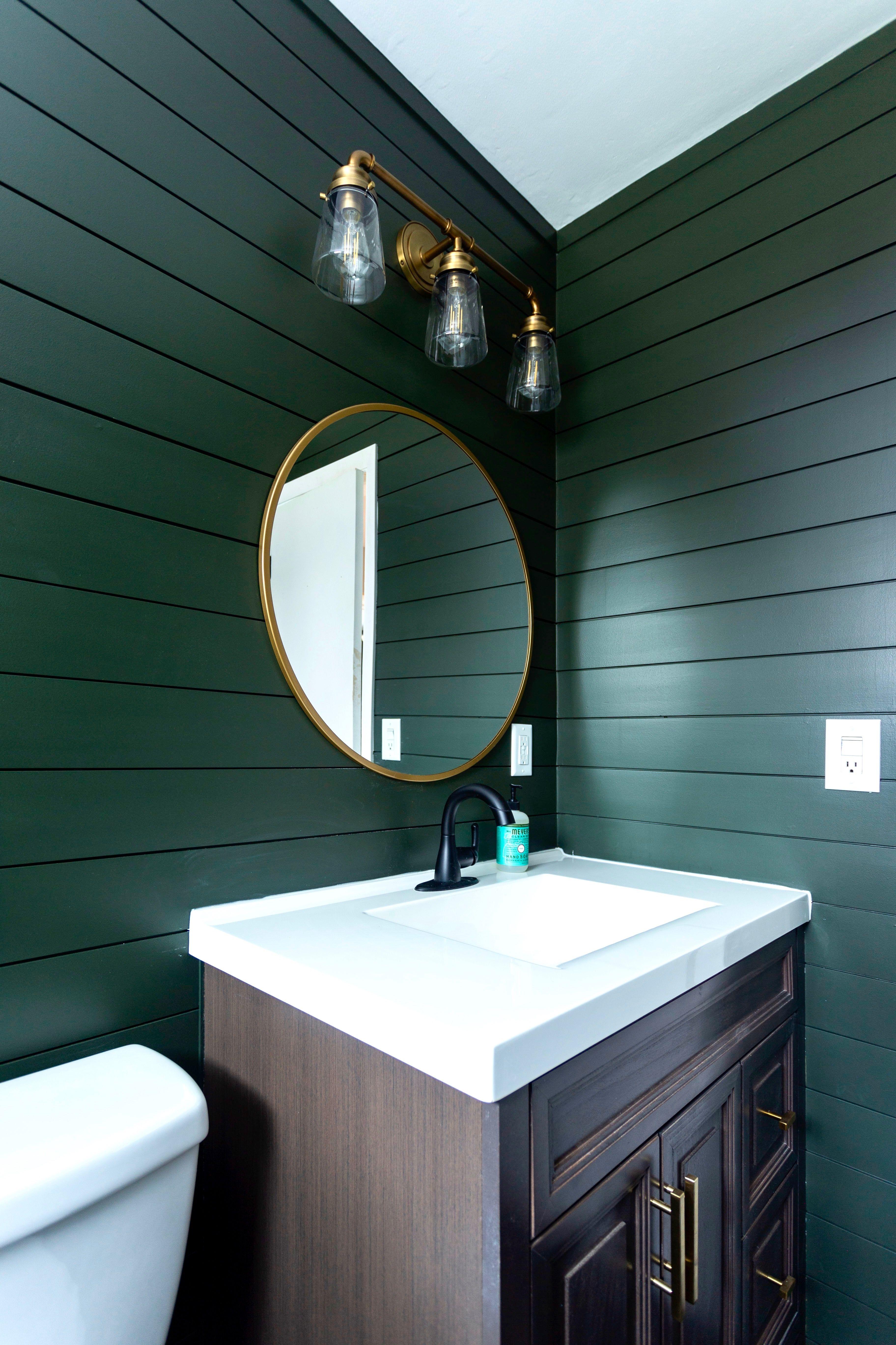 Dark Green And Gold Shiplap Bathroom In 2020 Shiplap Bathroom Green Accent Walls Dark Green Bathrooms