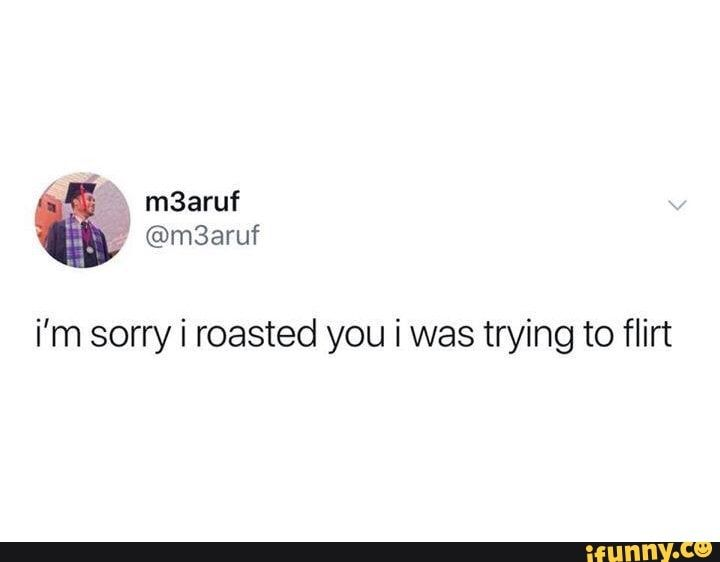 I'm sorry i roasted you i was trying to flirt - iFunny :)
