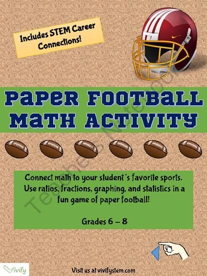 Paper Football Math Activity Ratio Amp Proportions With Stem