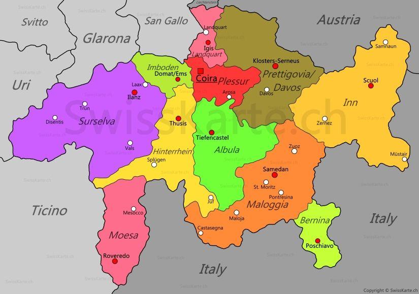 Mappa Dei Grigioni Mappe Coira