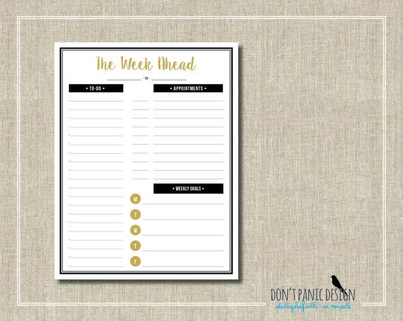 Printable Weekly Planner Page - Fun Gold and Black Daily Planner - day planner sheet