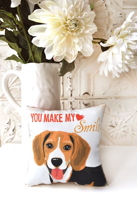 CLEARANCE Beagle Art Mini Pillow You Make My Heart by gingereyed