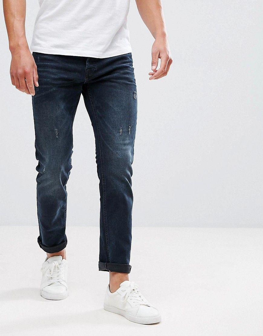 1b5b51c5520b Jack   Jones Intelligence Jeans In Slim Fit Blue Black Denim - Navy