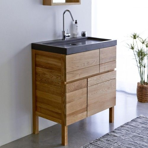 Tikamoon Easy Oak And Lava Stone Vanity Cabinet 80