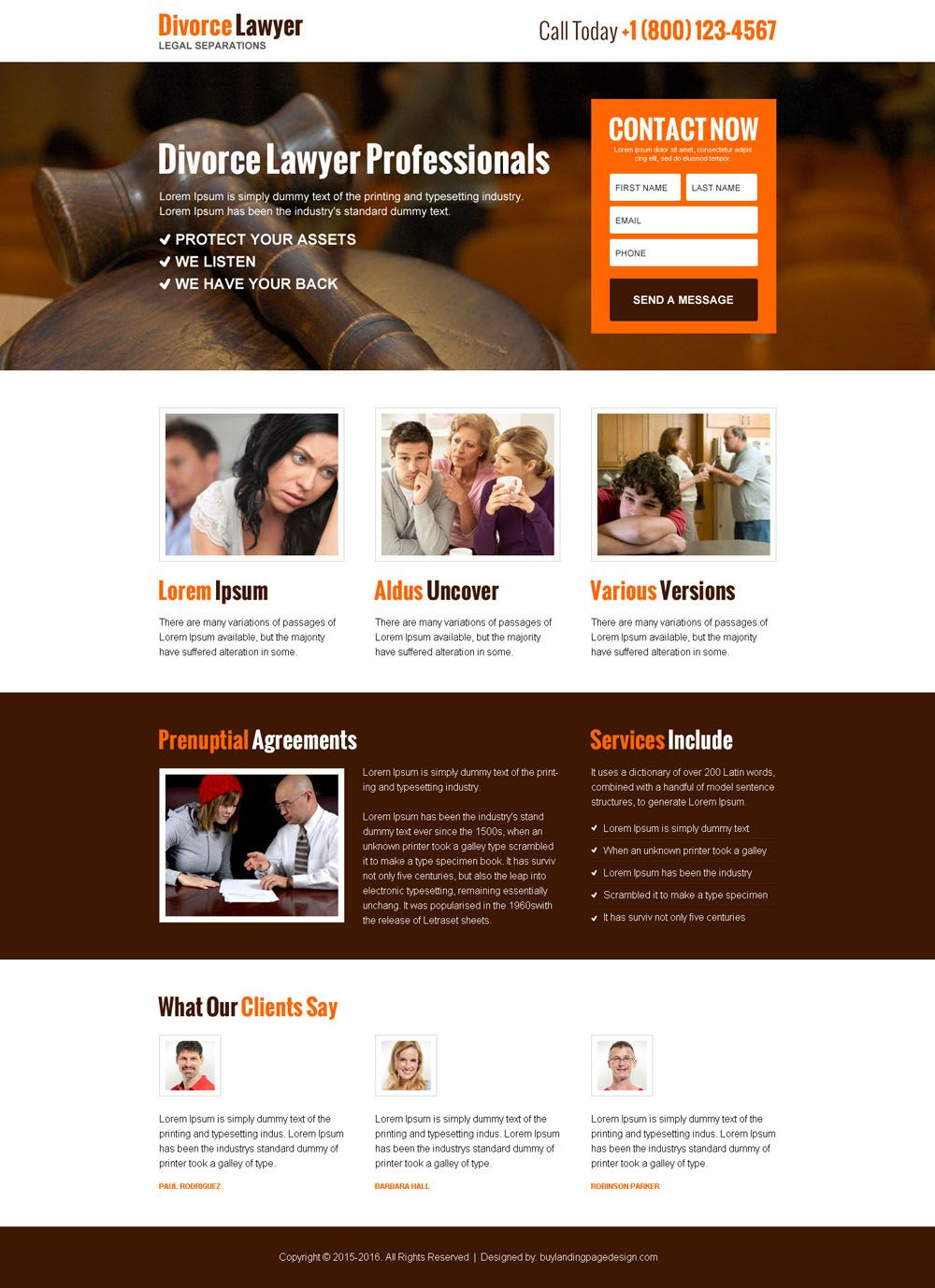 Divorce Lawyer Professional Responsive Landing Page With Images
