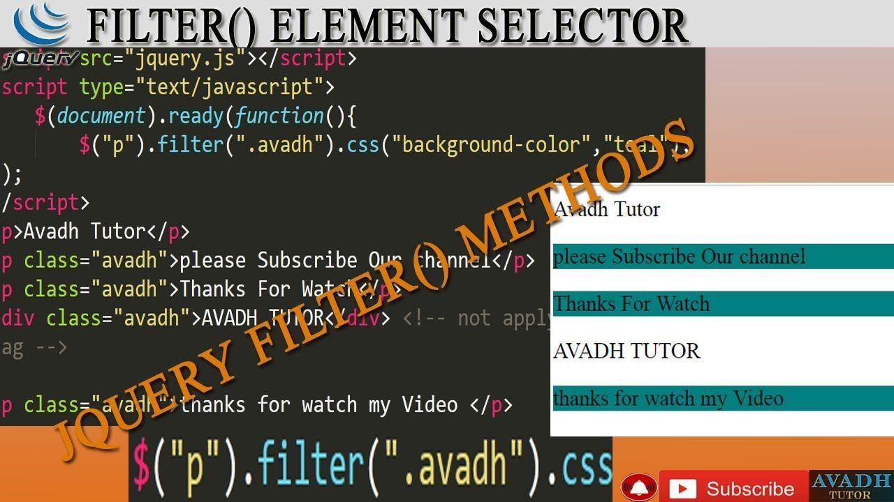 jquery filter method || jquery filter element || jquery