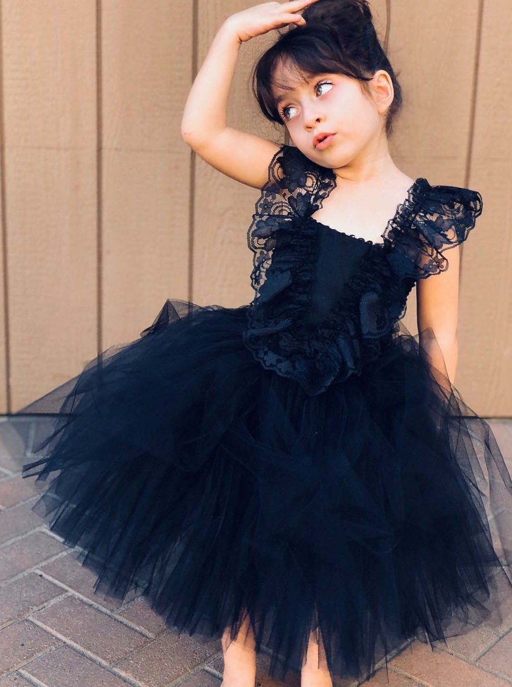 df3282b29 Ball Gown Navy Blue Tulle Flower Girl Dress with Ruffles