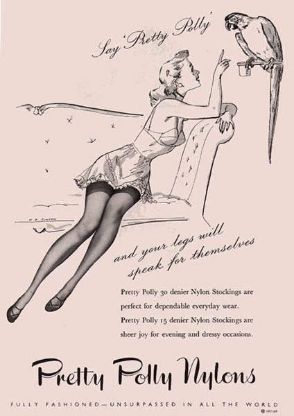 Vintage Pretty Polly Nylons ads. #vintage #ads #stockings #hoisery