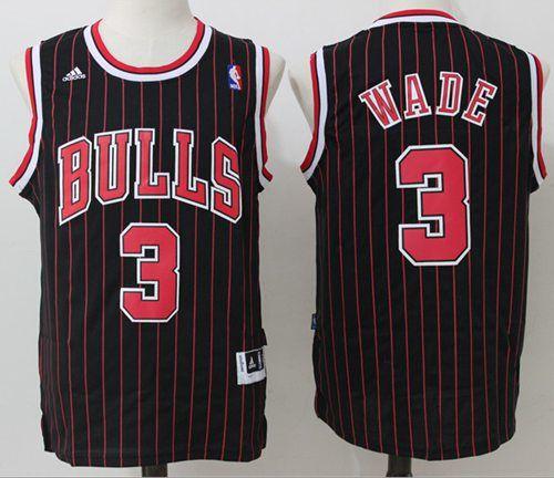 Bulls  3 Dwyane Wade Black (Red Strip) Throwback Stitched NBA Jersey ... e3c5eb475