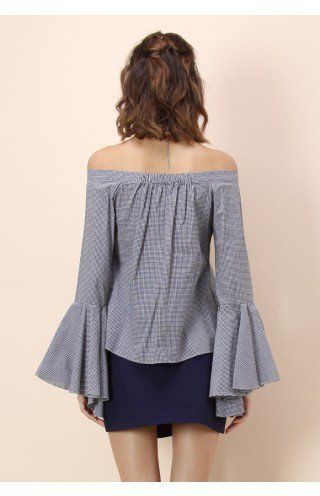 4c86058354572 Dramatic Gingham Off-shoulder Top with Bell Sleeves - Tops - Retro