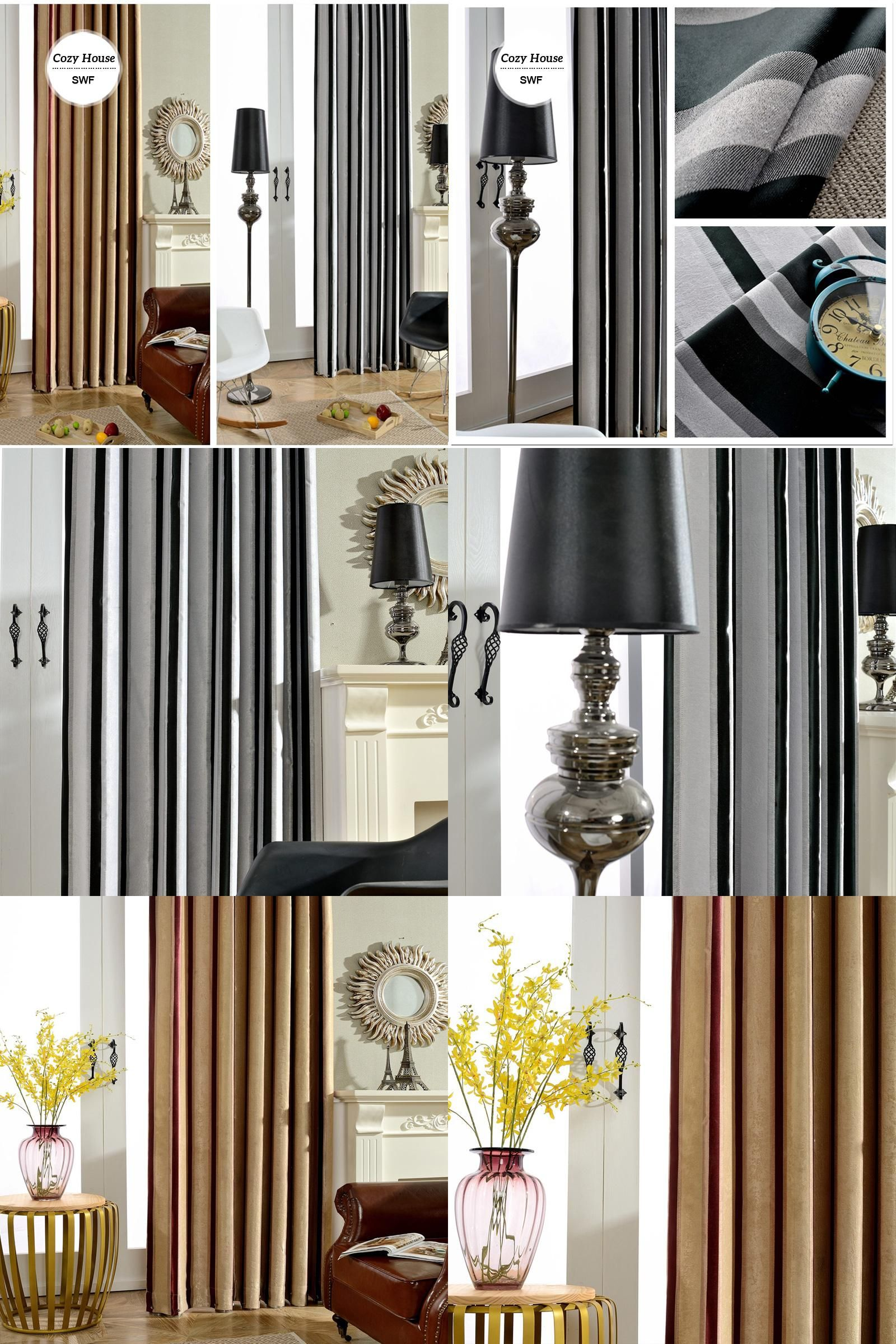 Visit to buy modern striped blackout curtains for bedroom roman