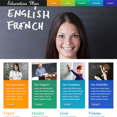 Education Plan web template and mobile website template for schools ...
