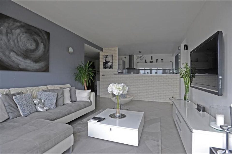 Salon gris blanc idee salon pinterest salons for Decoration coin salon moderne
