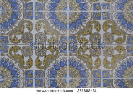 vintage ceramic tile - stock photo