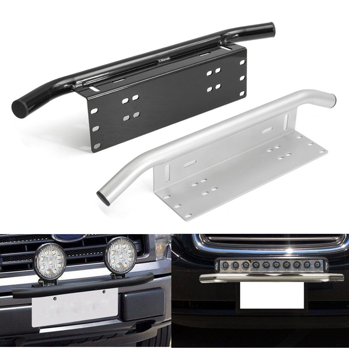 Black bull bar front bumper license plate mount bracket holder black bull bar front bumper license plate mount bracket holder offroad light bar mozeypictures Gallery