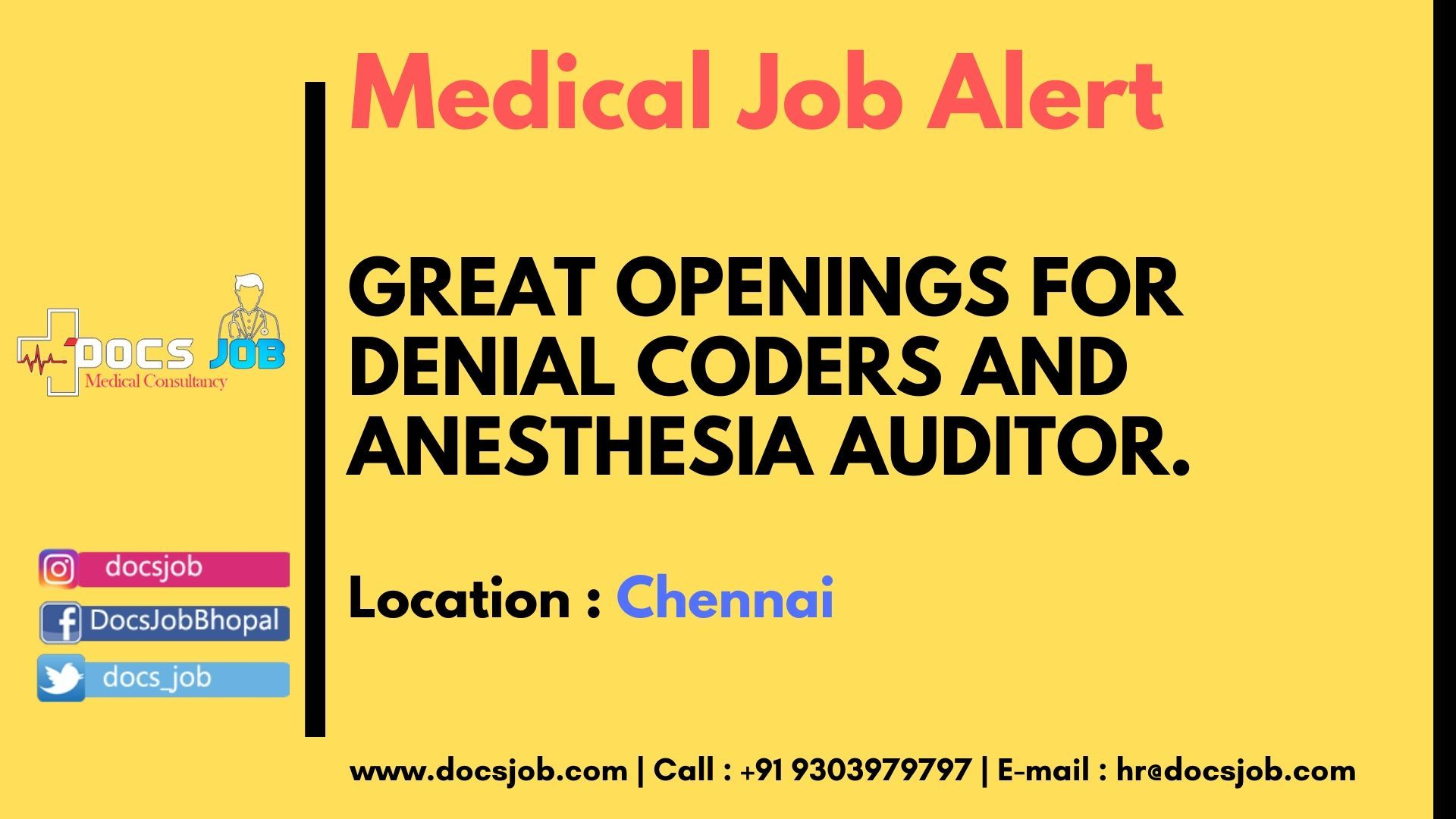 Great Openings for Denial coders and Anesthesia Auditor