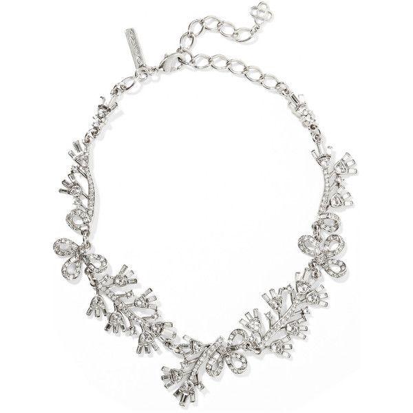 Crystal Cluster Silver-Tone Necklace Oscar De La Renta 2GQOwUAS