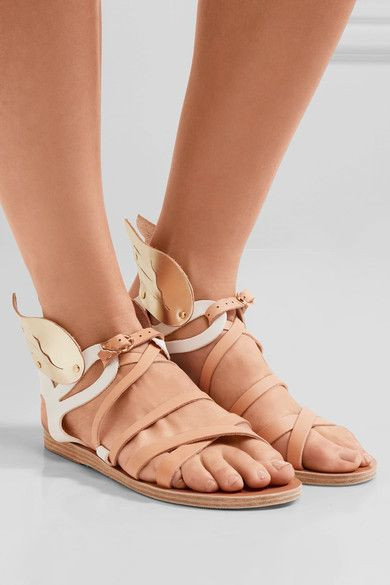 dc13f435f03 Ancient Greek Sandals - Nephele Metallic-trimmed Leather Wing ...