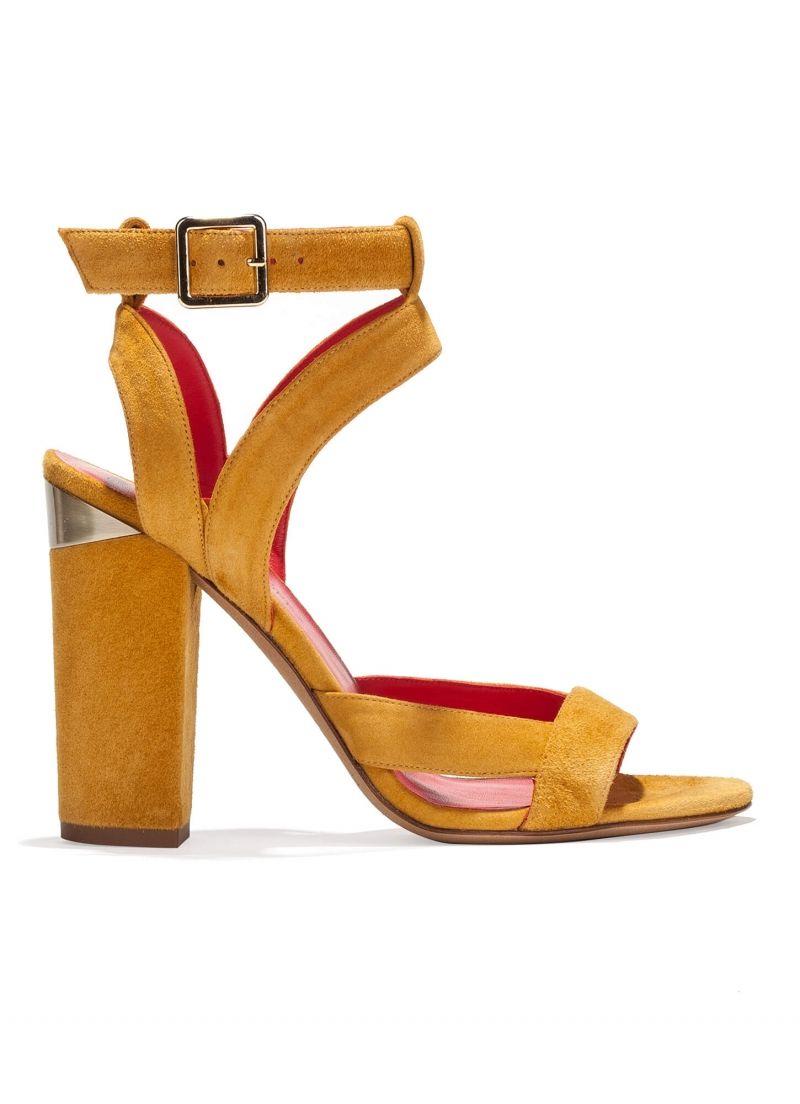 32800fbd6782 Pura Lopez Kirma- Comprar sandalias de tiras con tacón bloque realizadas en  ante tabaco con