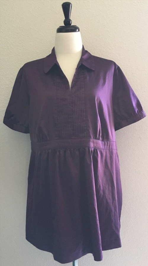 13.32$  Watch here - http://vijtp.justgood.pw/vig/item.php?t=z888t635760 - Motherhood Maternity XL Blouse Purple Shiny Career Top Stretch Bust 100% Poly 13.32$