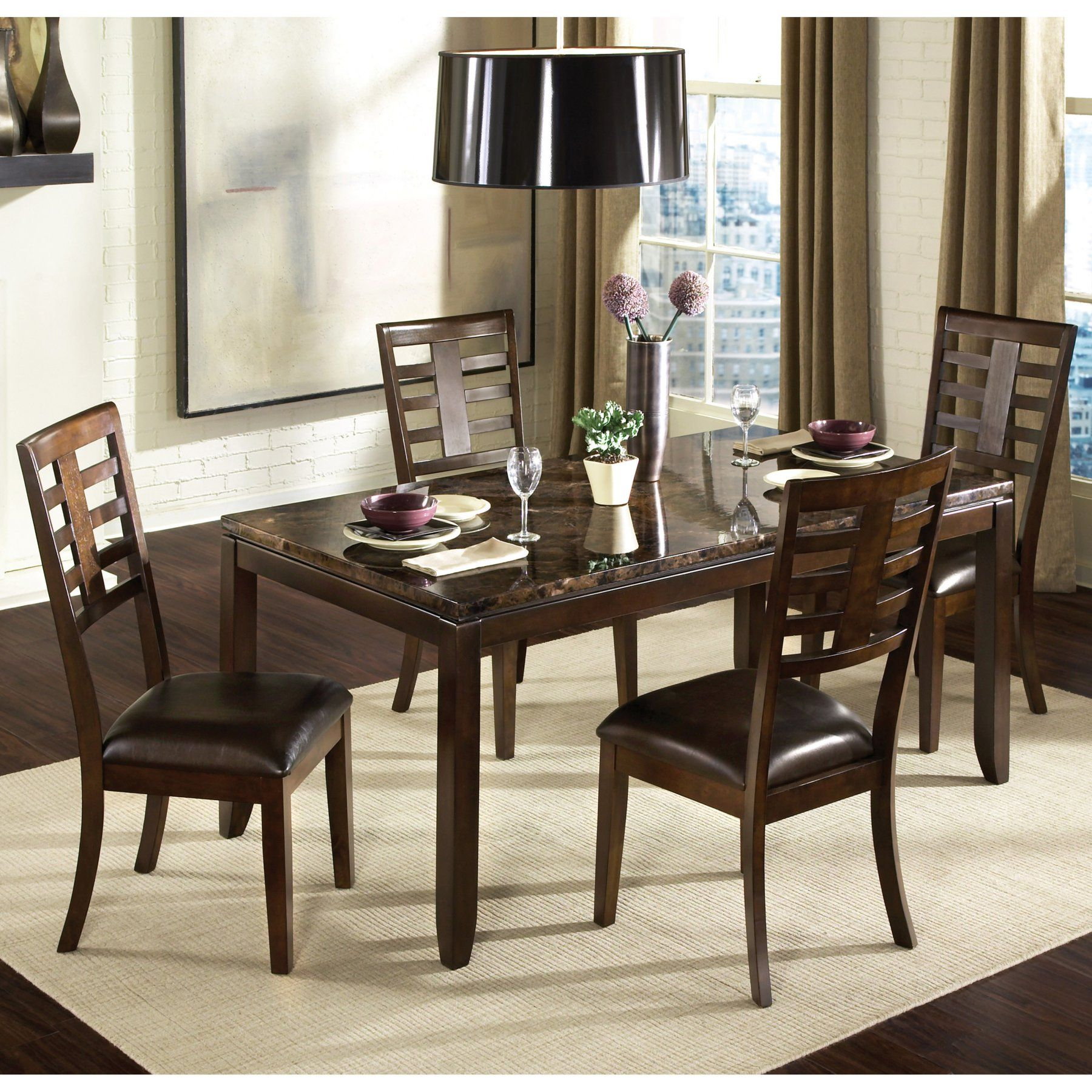 standard furniture bella 5 piece dining table set with faux marble rh pinterest com