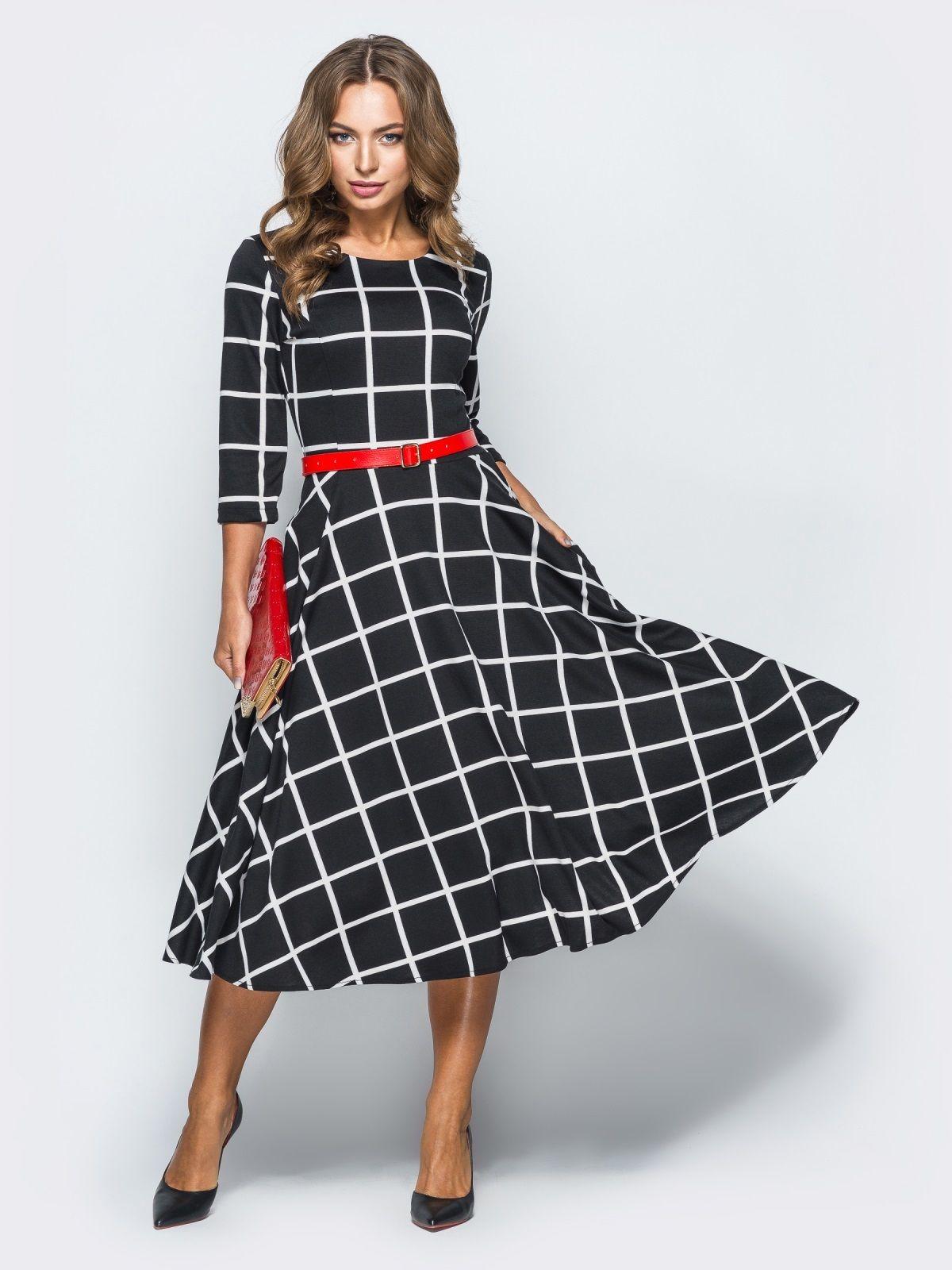 469a1326f8b95d Елегантне плаття-міді в клітку - 67466 | goods ...ukr in 2019 | Midi ...