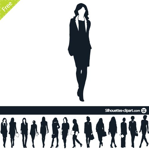 Business Woman Vector Silhouettes Silhouettes Clipart Woman Silhouette Business Women Silhouette