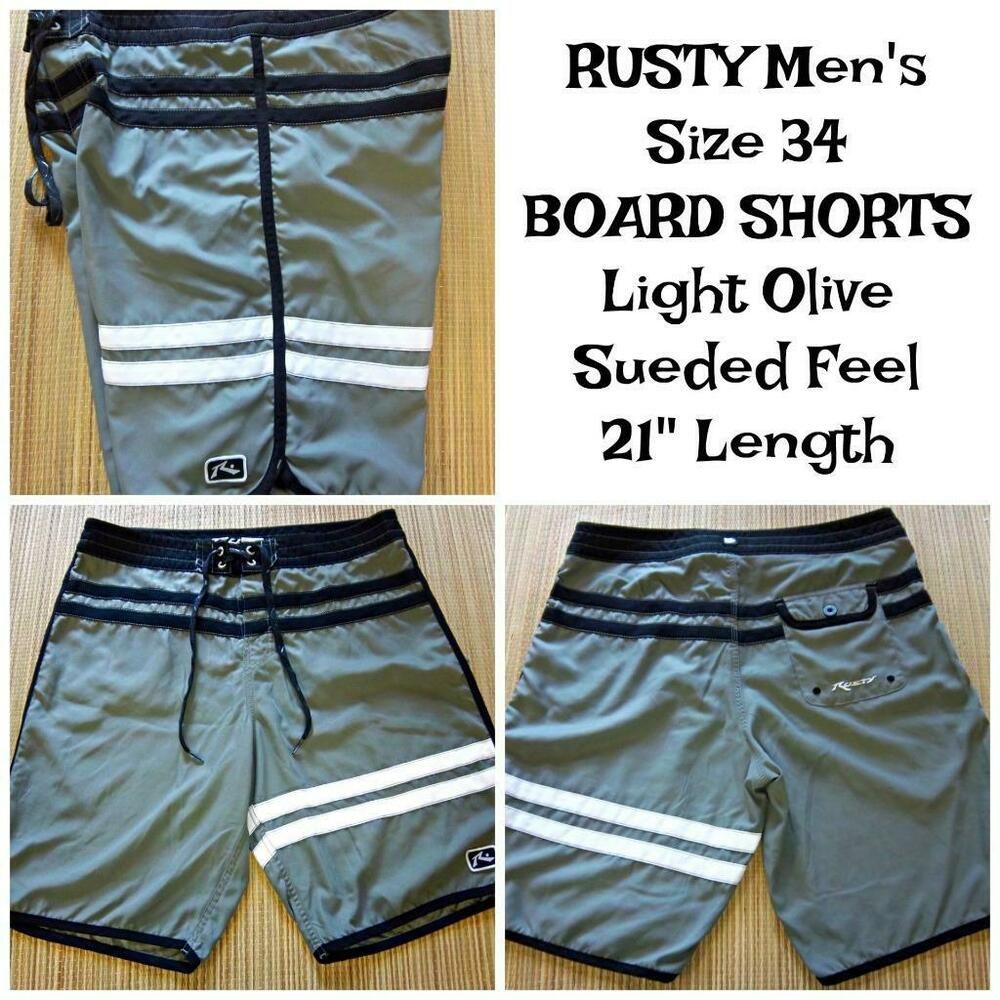 3451d5ab6e RUSTY Men's Size 34 BOARD SHORTS SWIM TRUNKS Suede Feel Light Olive Black  White #Rusty