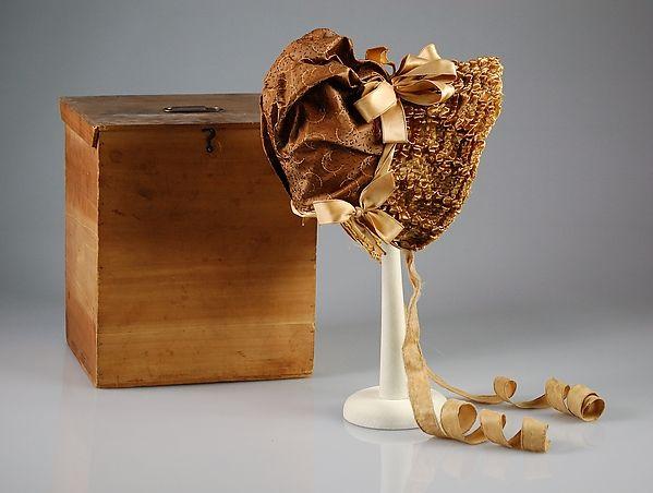 Bonnet Department Store: (a.) Best & Co. (American, 1879–1969) Maker: (b.) B. Penaud Date: ca. 1875 Culture: French Medium: Straw, silk, wood, metal