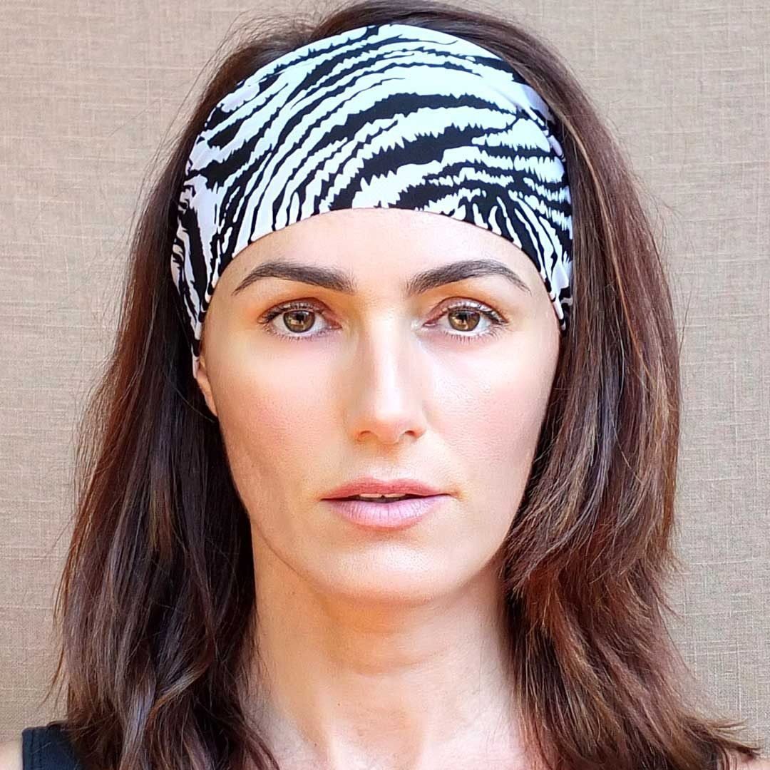 New! Zebra Black & White Non-Slip Workout Headband
