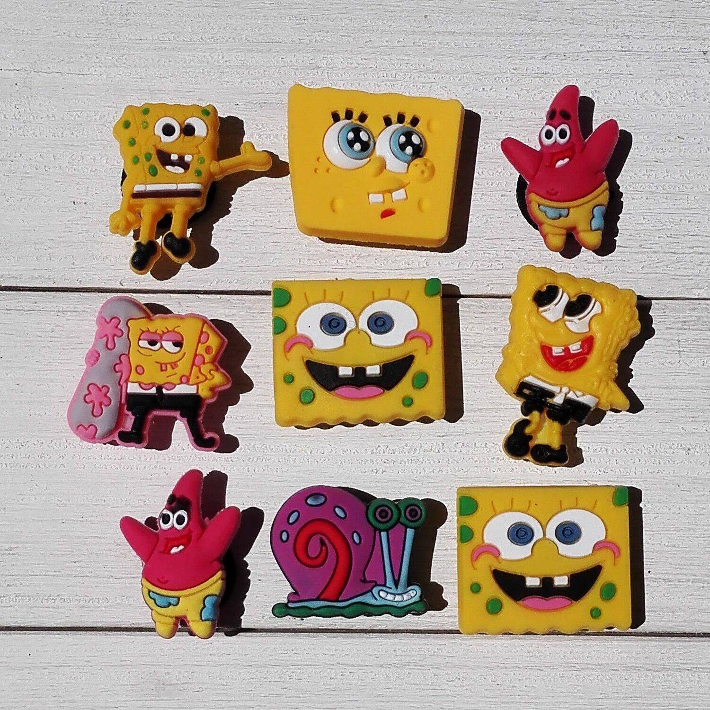 9a3aa2313ff 9-100Pcs Spongebob Pvc Shoe Charms/Shoe Buckle Fit Jibz & Bracelets Kids  Gifts