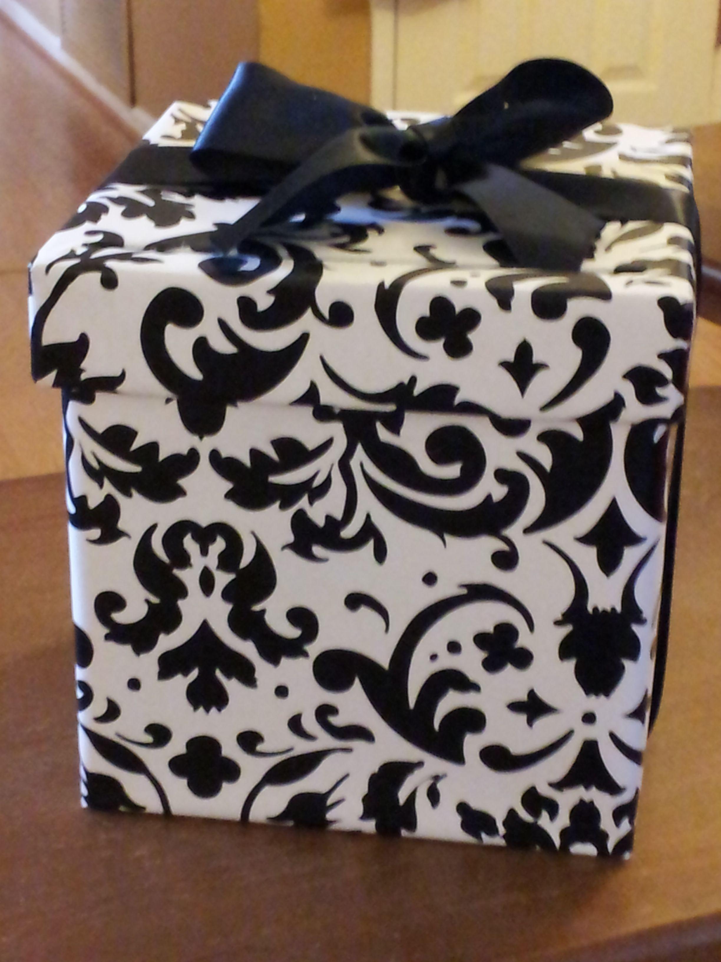 Homemade wedding gift card box from hobby lobby paper